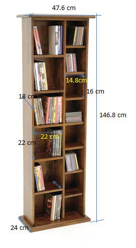 colonne double range cd dvd hevea 47x24x146cm tradition