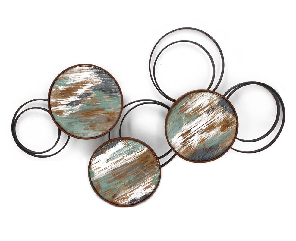 decoration murale cercles vides en metal cercles pleins en bois multicolore 65x102cm