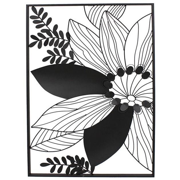 decoration murale fleur stylisee metal noir encadree