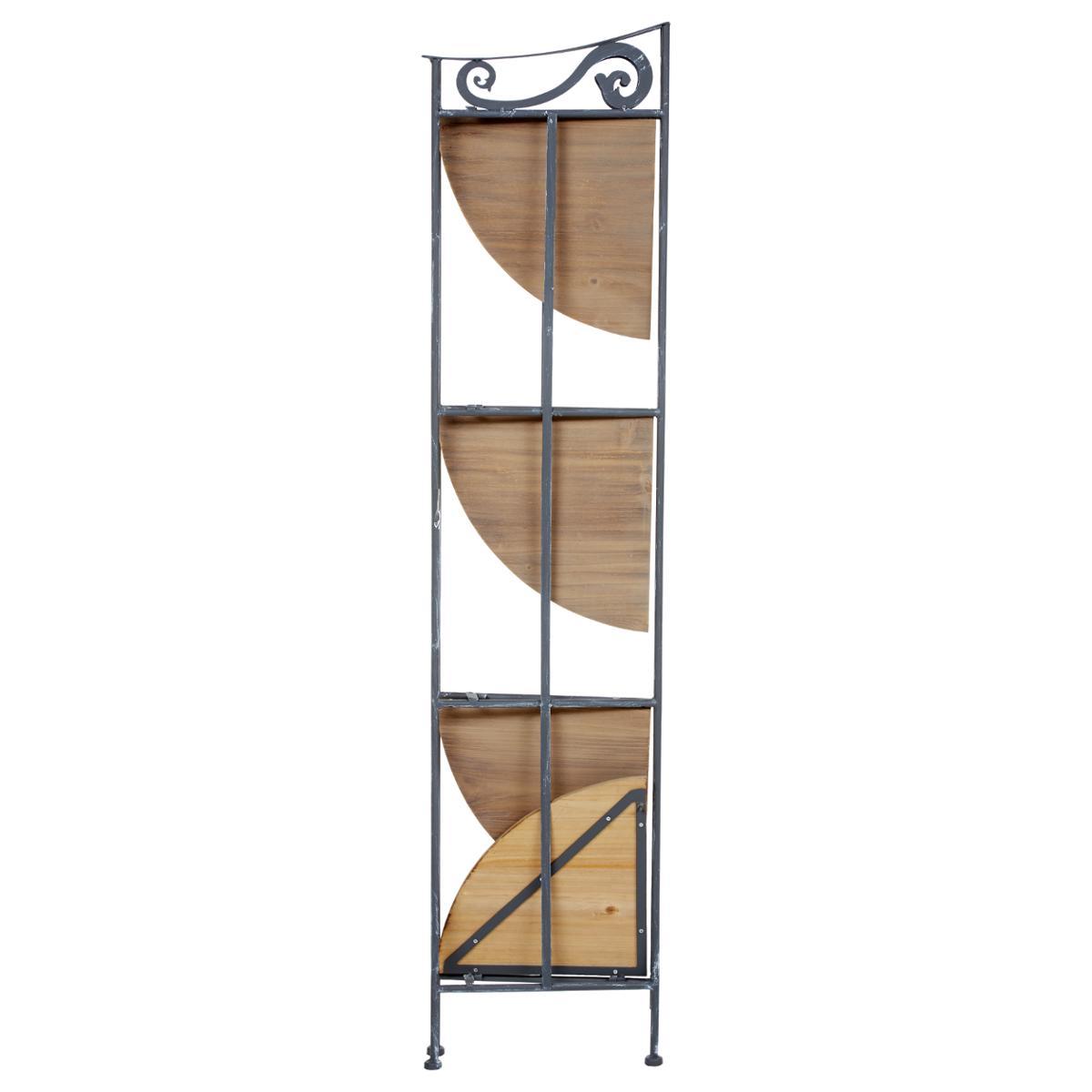 etagere d angle 4 etages metal grise blanchi et plateaux bois 31x31xh131cm