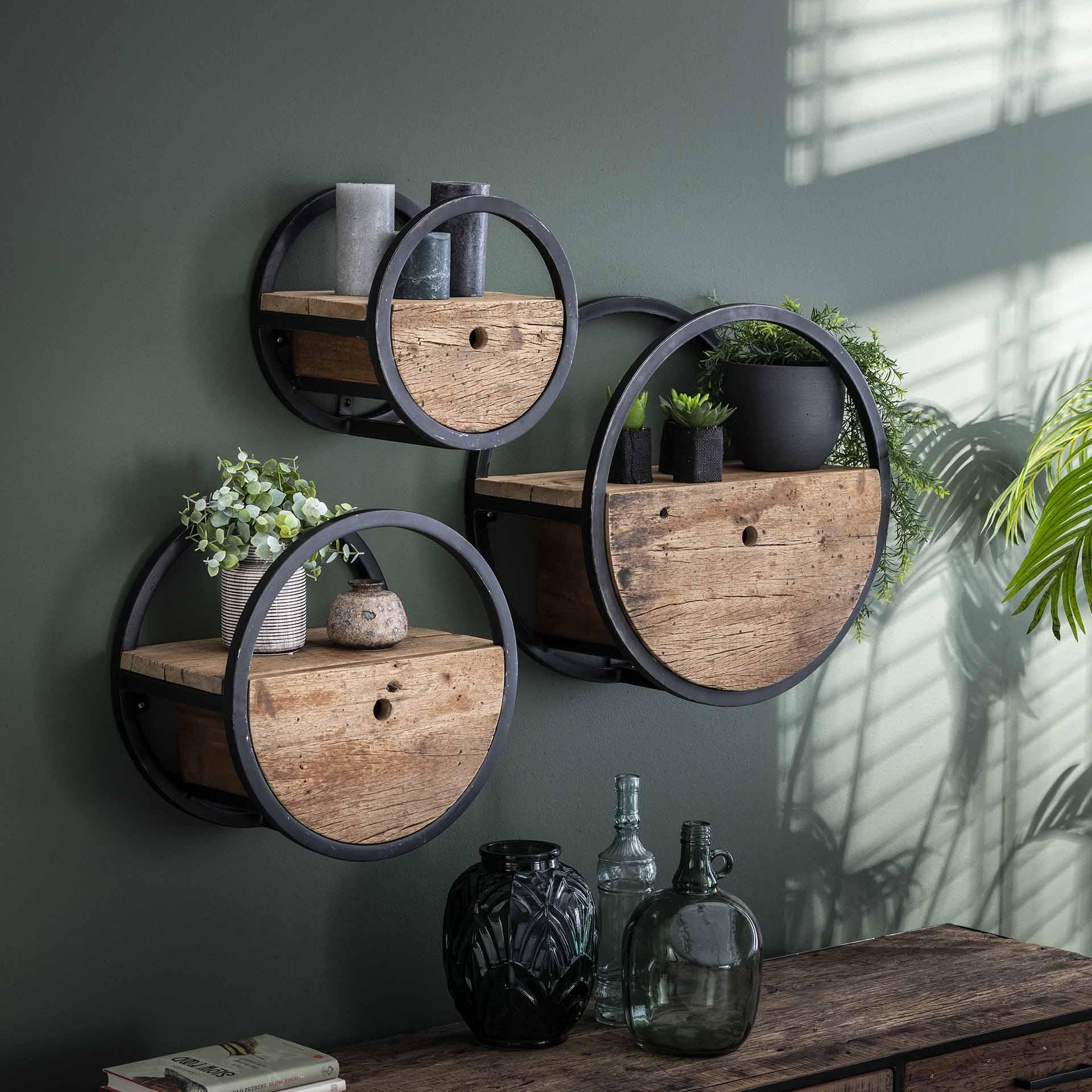 etagere murale ronde bois recycle brut 1 tiroir d30 cm cyclades etageres murales pier import