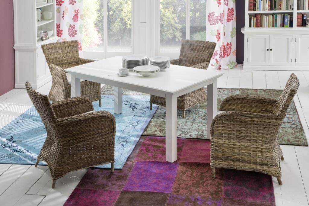 fauteuil chaise en rotin de salle a manger avec accoudoir et coussin 65x90cm royan