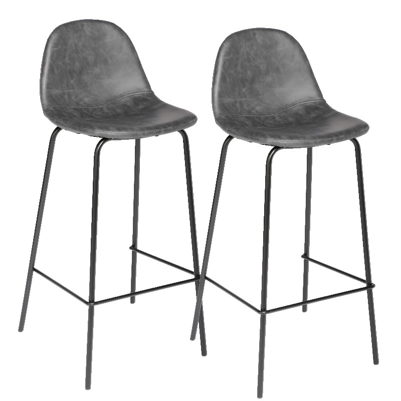 fauteuil de bar gris effet vieilli lot de 2