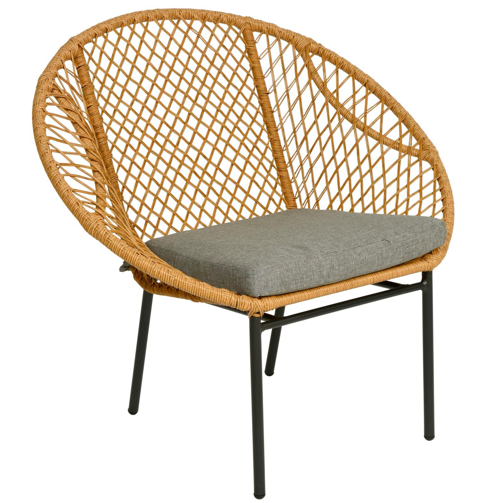fauteuil de jardin rond resine tressee finition naturelle kampala