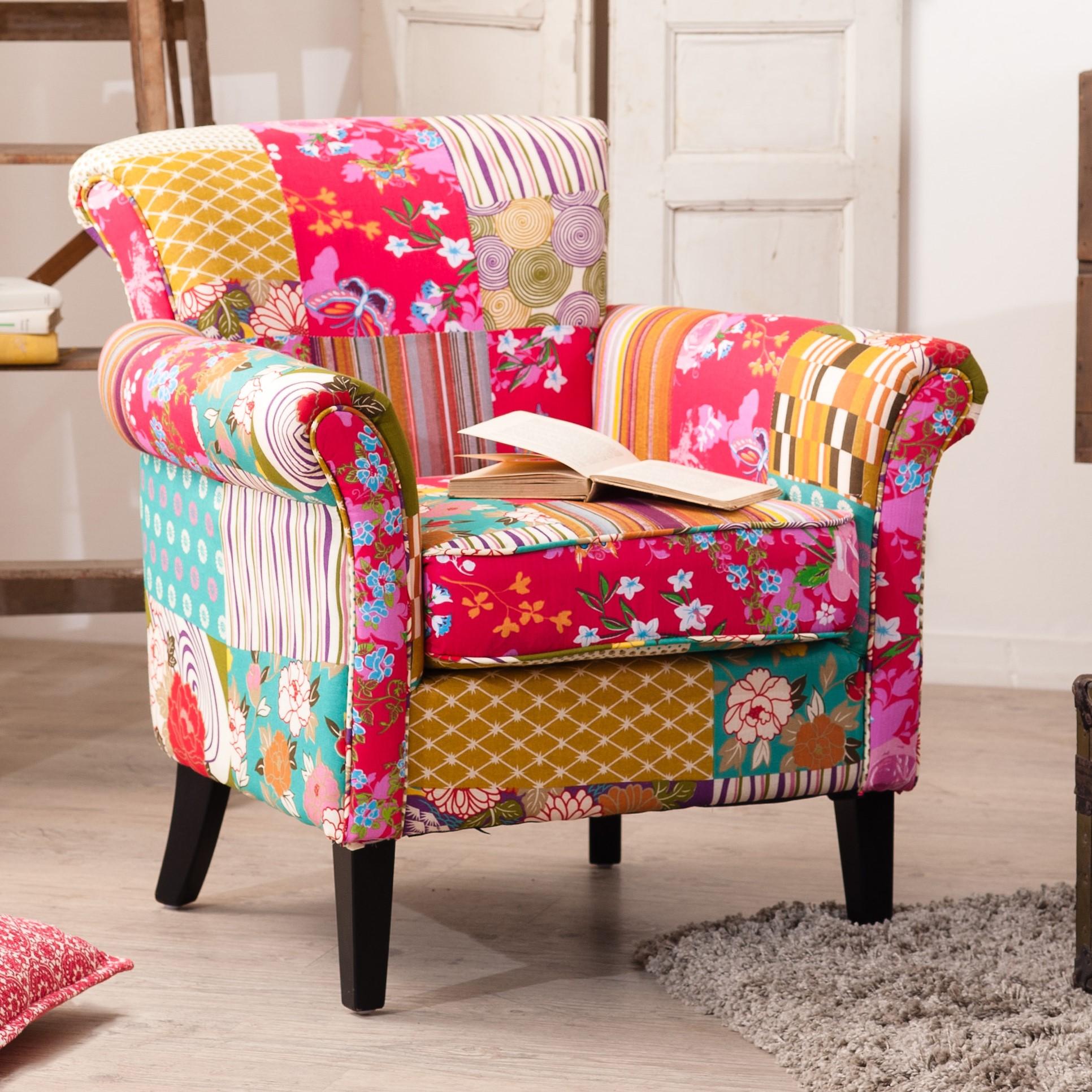 fauteuil patchwork tissu boheme 75x76x79cm fauteuils pier import