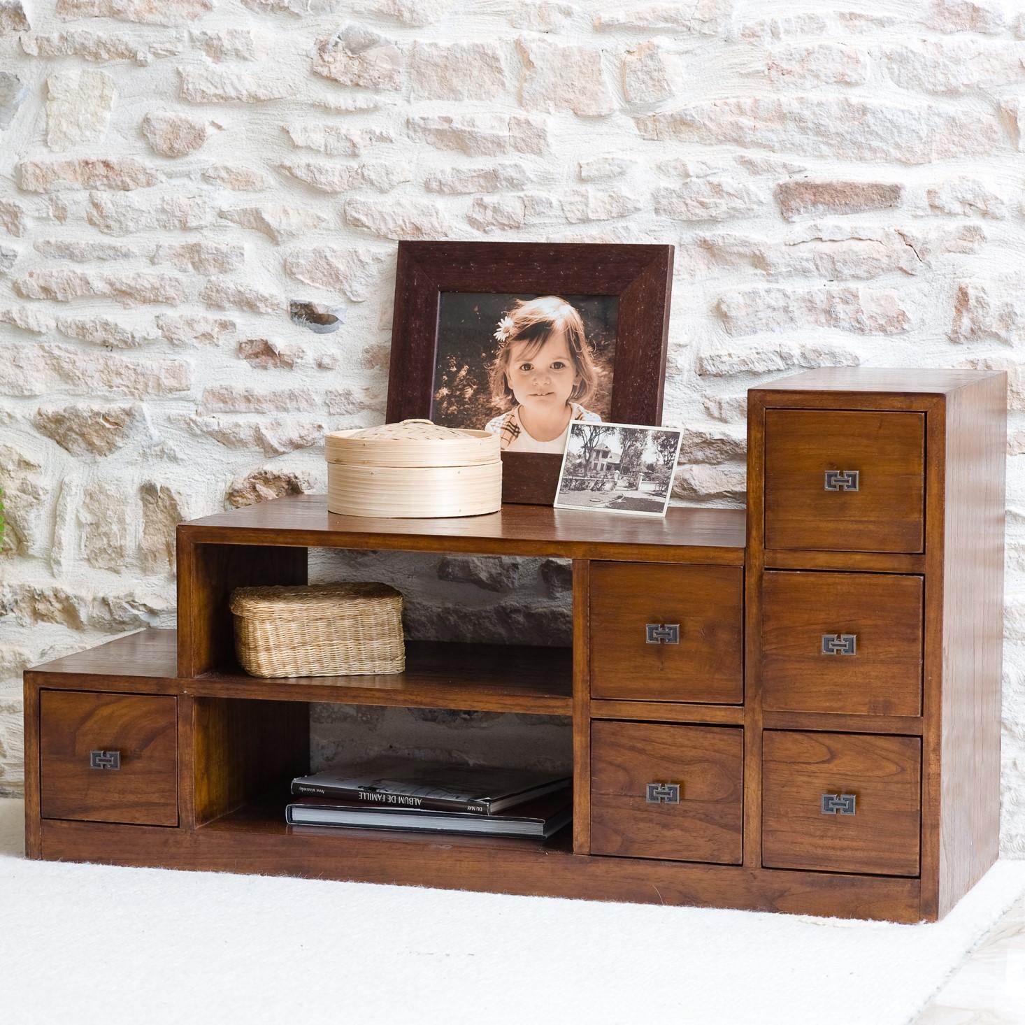 grand meuble tv bois exotique verni lola meubles tv pier import