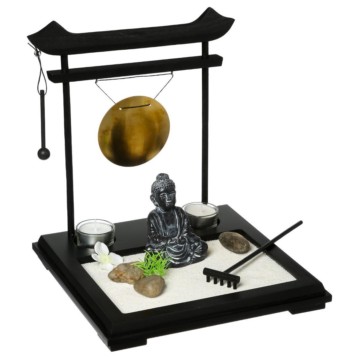 jardin zen avec bouddha et gong 26 cm