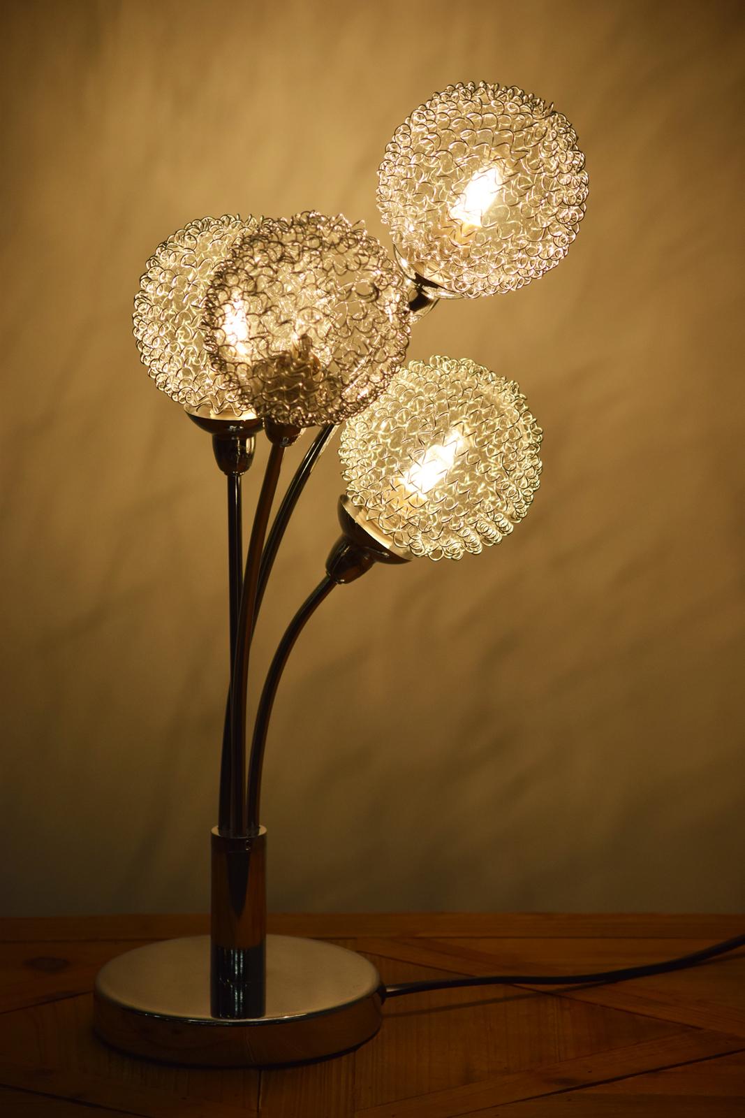 lampe pied metal chrome et abat jour 4 boules verre et metal chrome tresse d32xh45cm