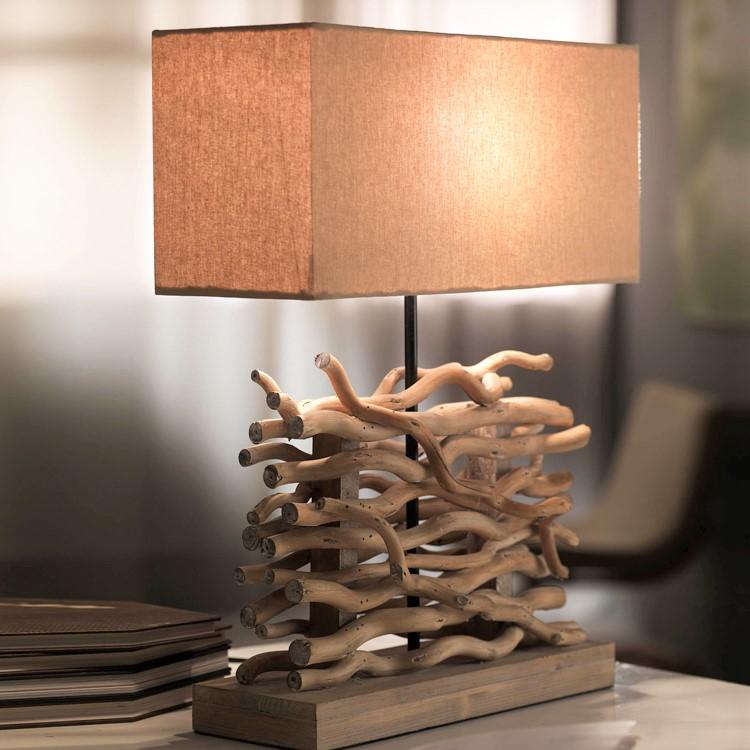 lampe salon effet bois flotte