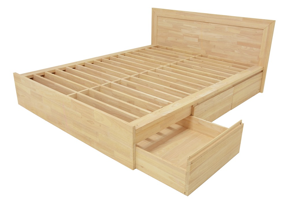 lit 2 places hevea avec 6 tiroirs pour couchage 140x190 148x197x80cm baltic
