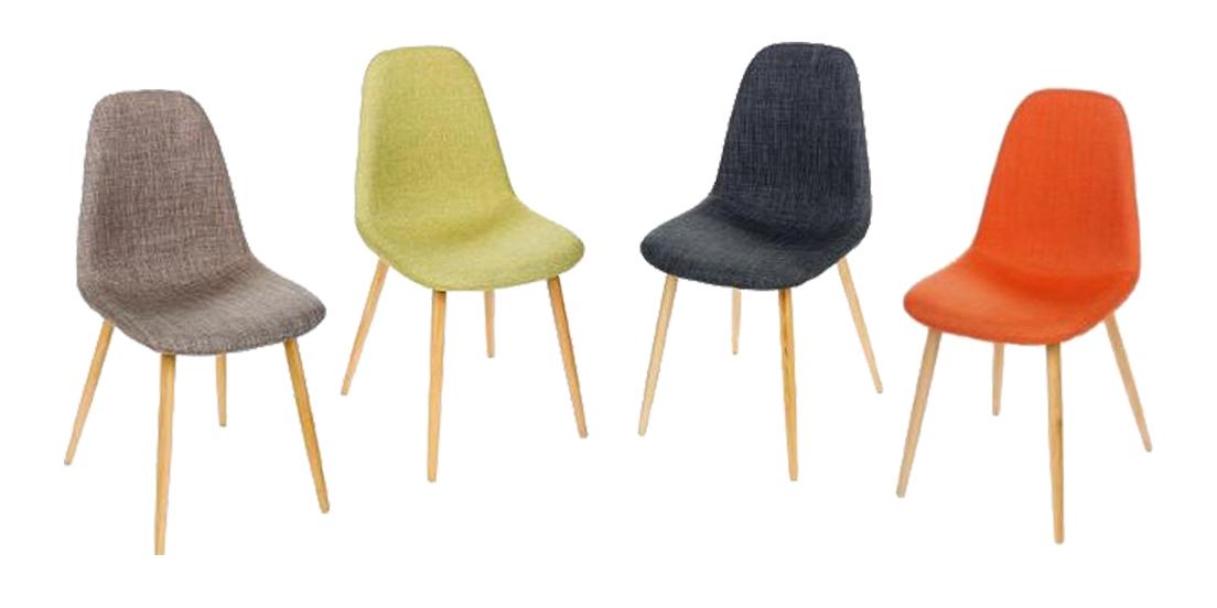 lot de 2 chaises inspiration scandinave couleur corail pieds hetre 45x53x86
