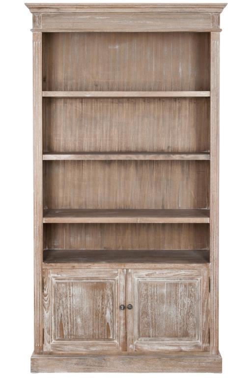 meuble bibliotheque bois naturel patine grise blanchi 3 etageres 2 portes l107xp38 5xh198cm paolia