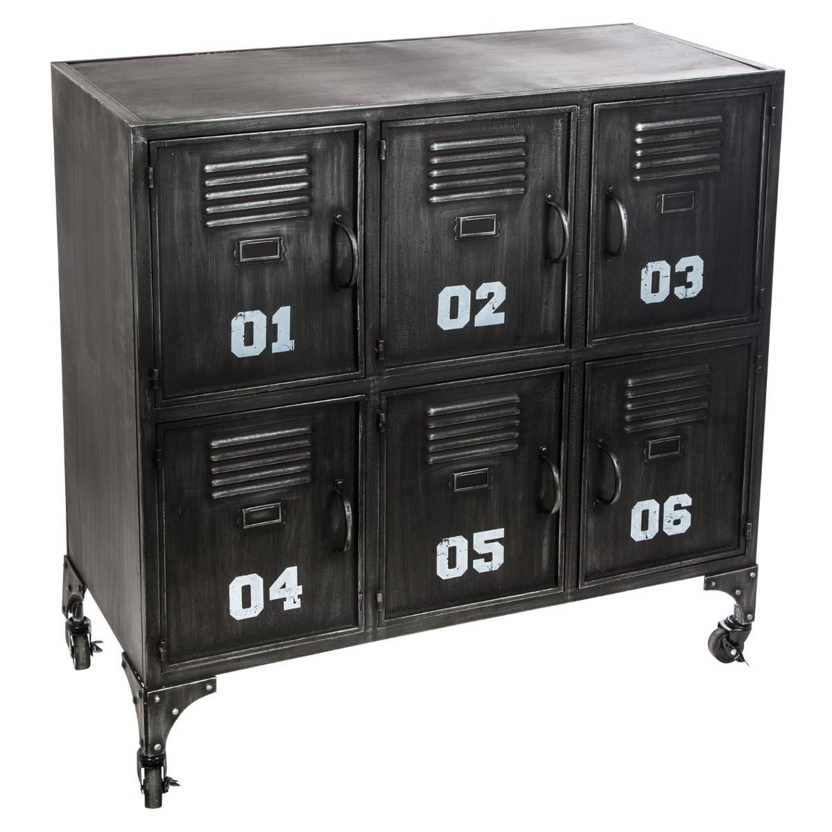 meuble rangement metal noir 6 portes ref 3002207