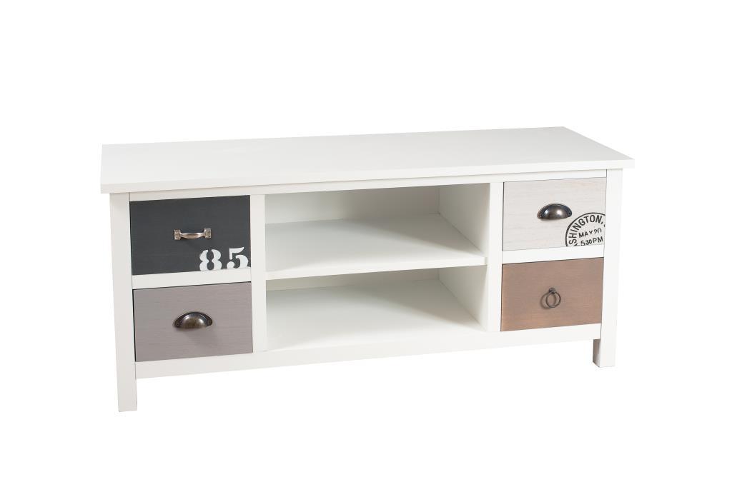 meuble tv 4 tiroirs blanc gris et taupe 114cm milo
