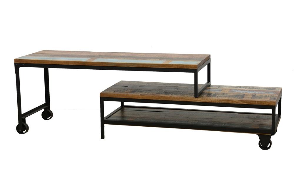 meuble tv a roulettes en 2 parties 3 grands plateaux en hevea recycle colore et metal 120x45x50cm loft colors