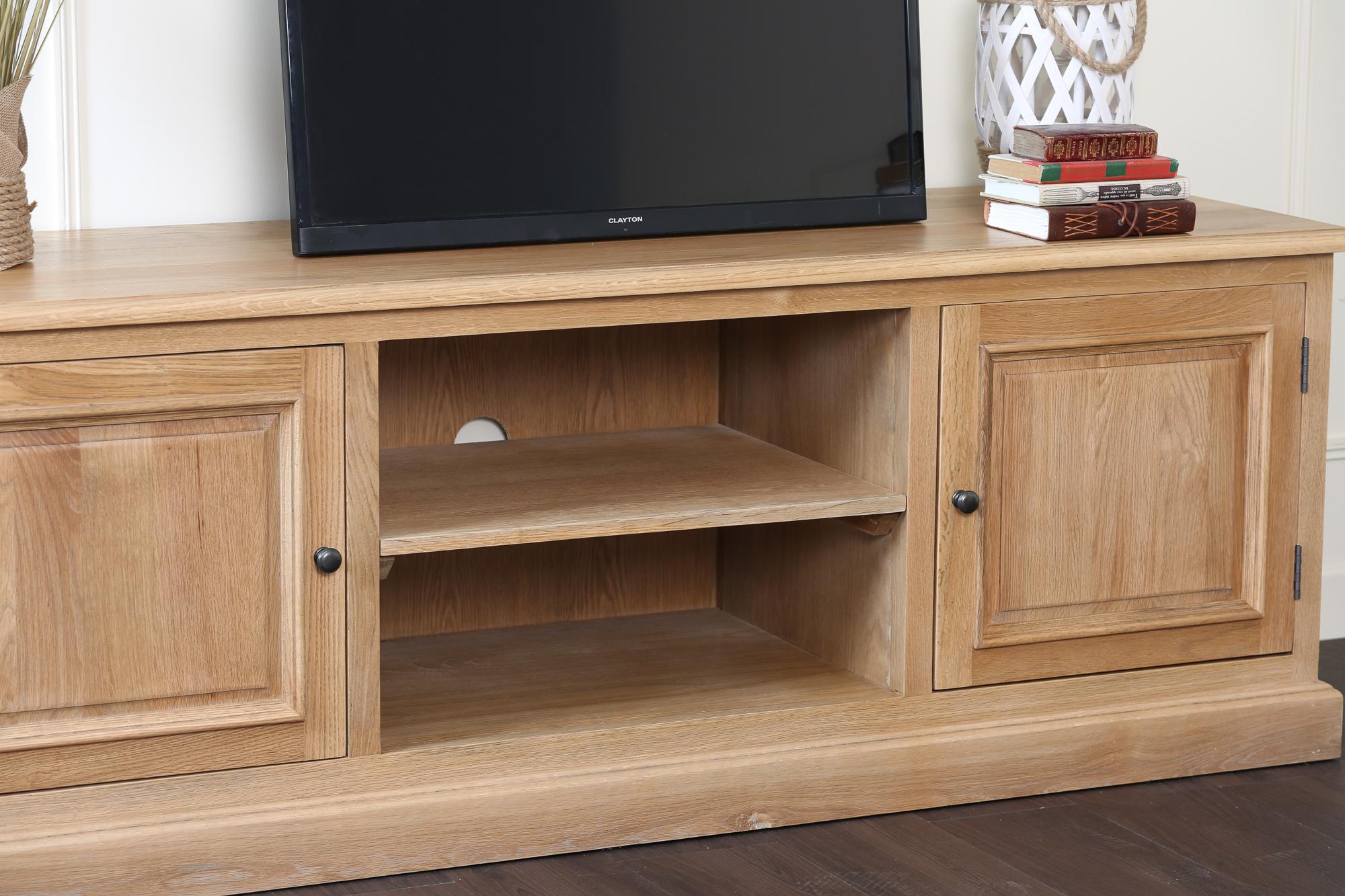 meuble tv avec rangement classique chic chene massif 170cm medicis