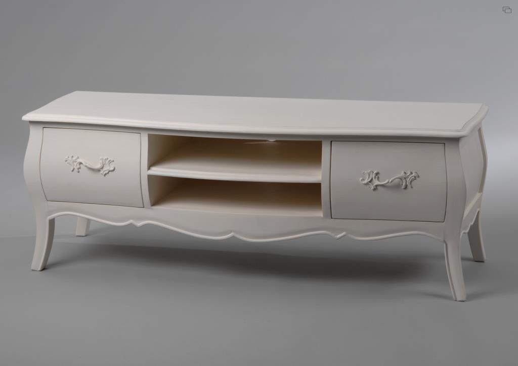 meuble tv baroque creme antique 2 tiroirs murano l120xp40xh43 amadeus