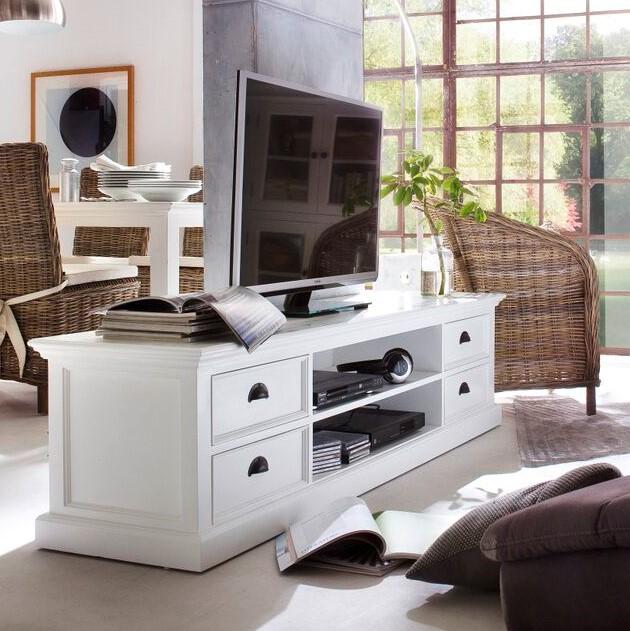 meuble tv blanc bois d acajou royan