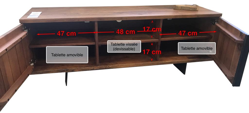 meuble tv bois 2 portes 150 cm oka