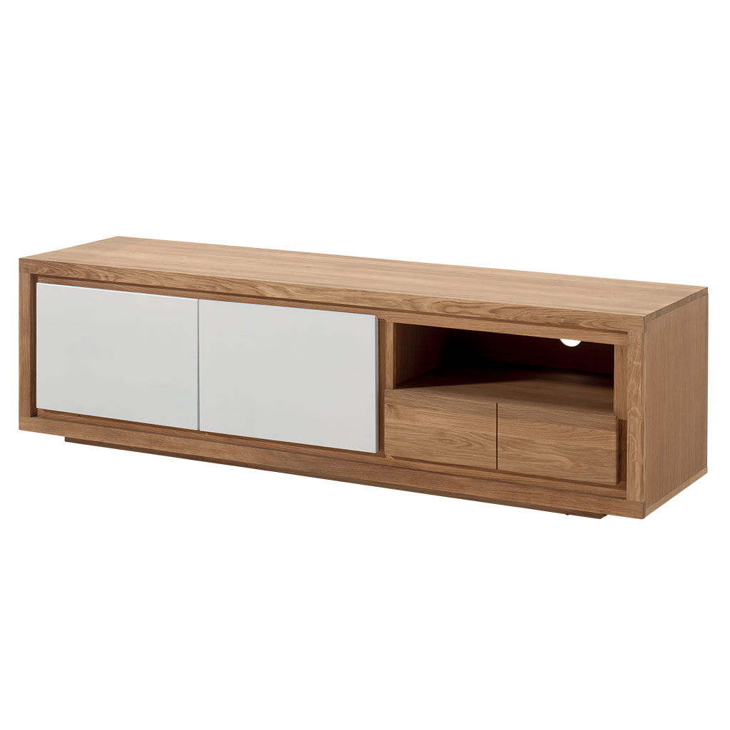 meuble tv bois bicolore naturel laque blanc en chene massif 2 portes 1 tiroir 1 niche 180x48x50cm malmoe
