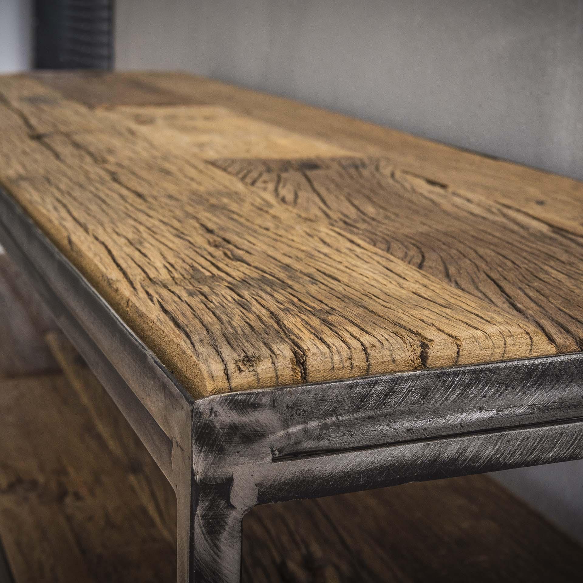 meuble tv bois brut recycle metal 180
