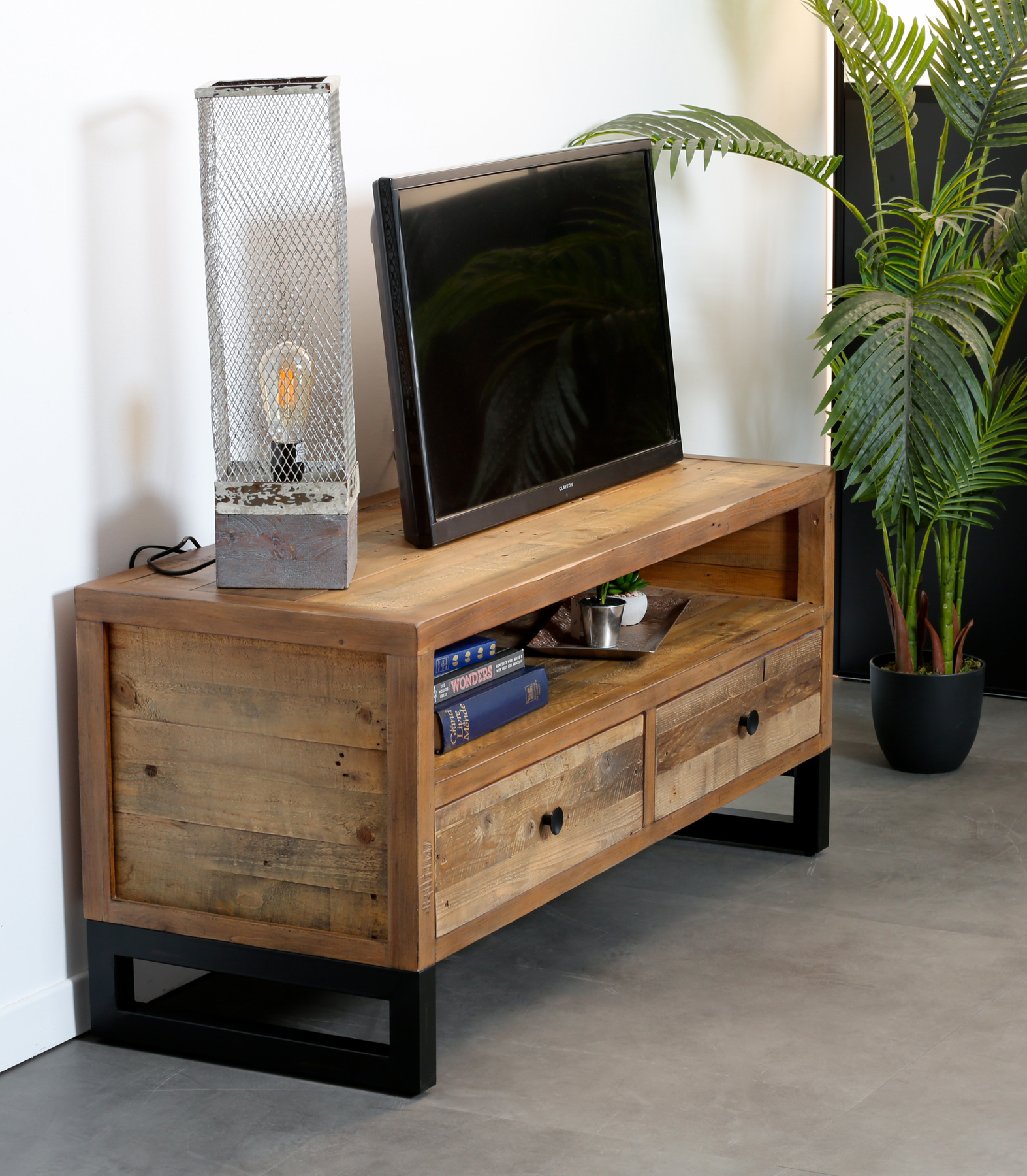meuble tv bois recycle 2 tiroirs brisbane