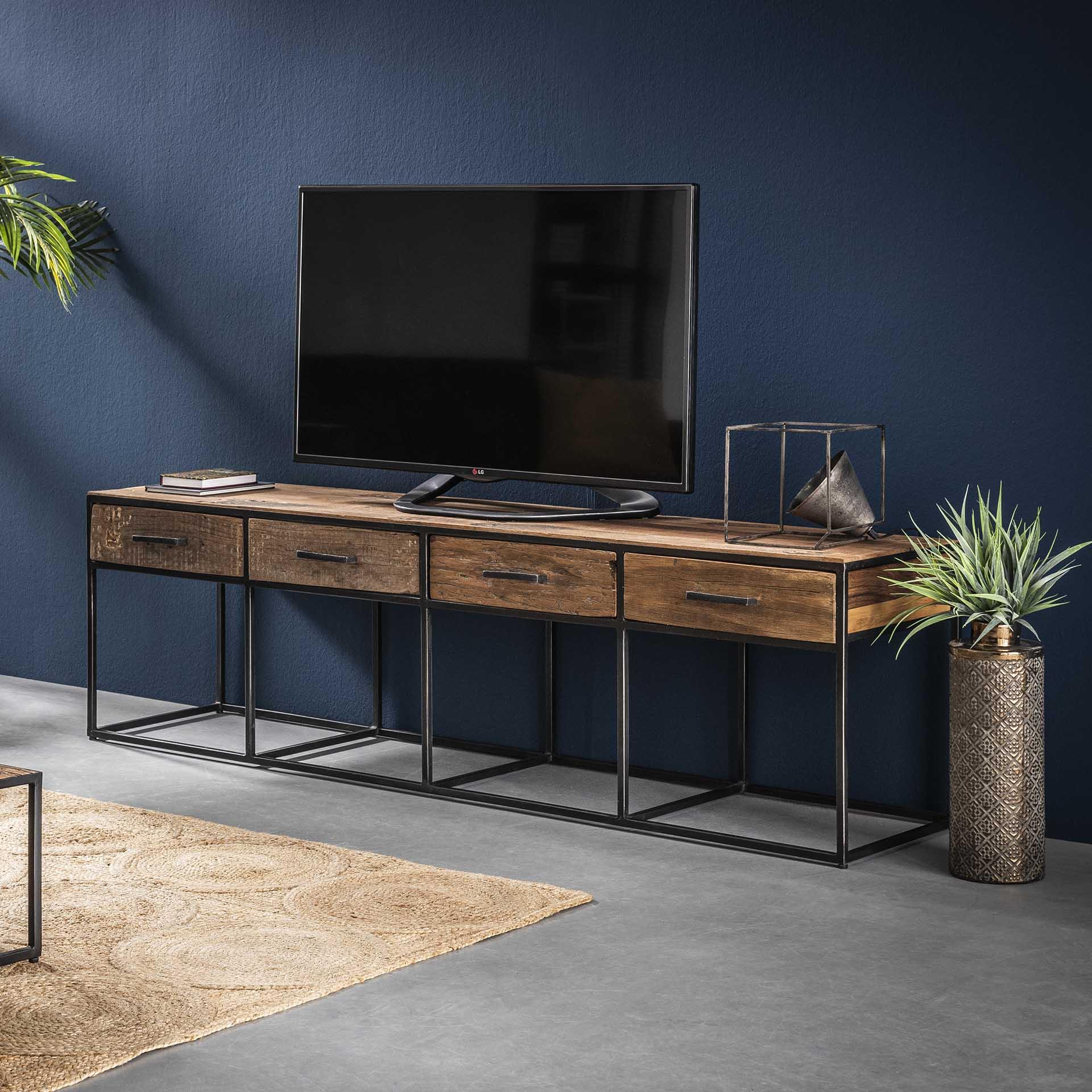 meuble tv bois recycle brut acier 4 tiroirs wellington meubles tv pier import