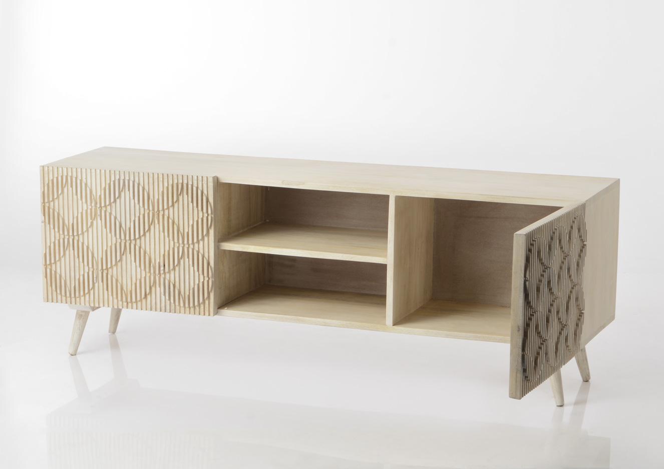 meuble tv bois style contemporain 140 cm