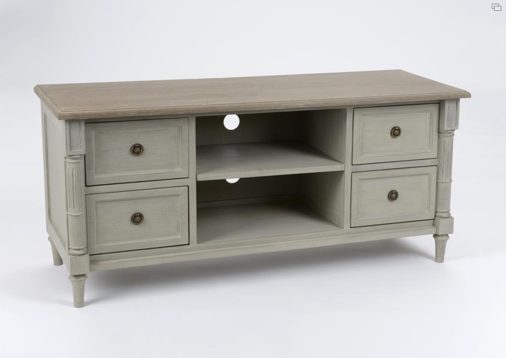 meuble tv bois vieilli gris 4 tiroirs 120 cm edouard l 120 x p 40 x h 55 amadeus