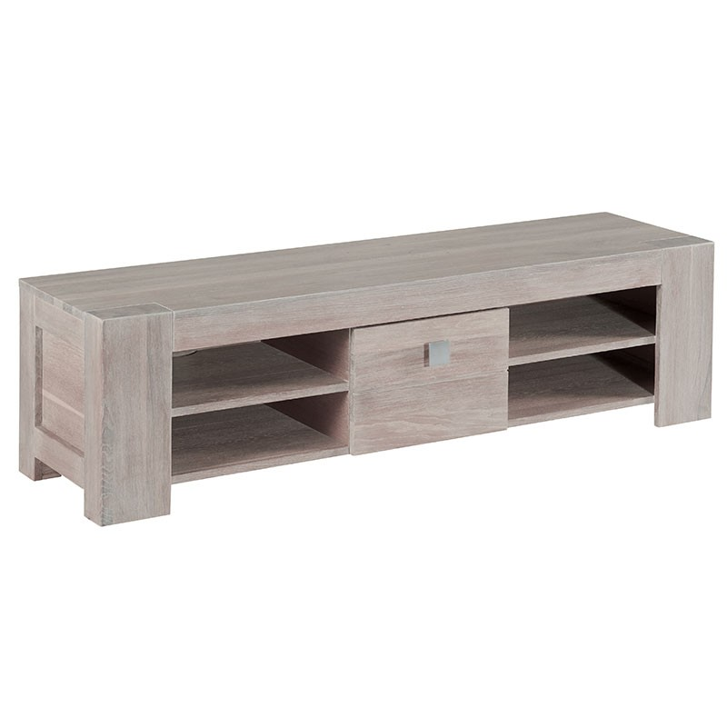 meuble tv chene blanchi 1 porte 149cm chicsea
