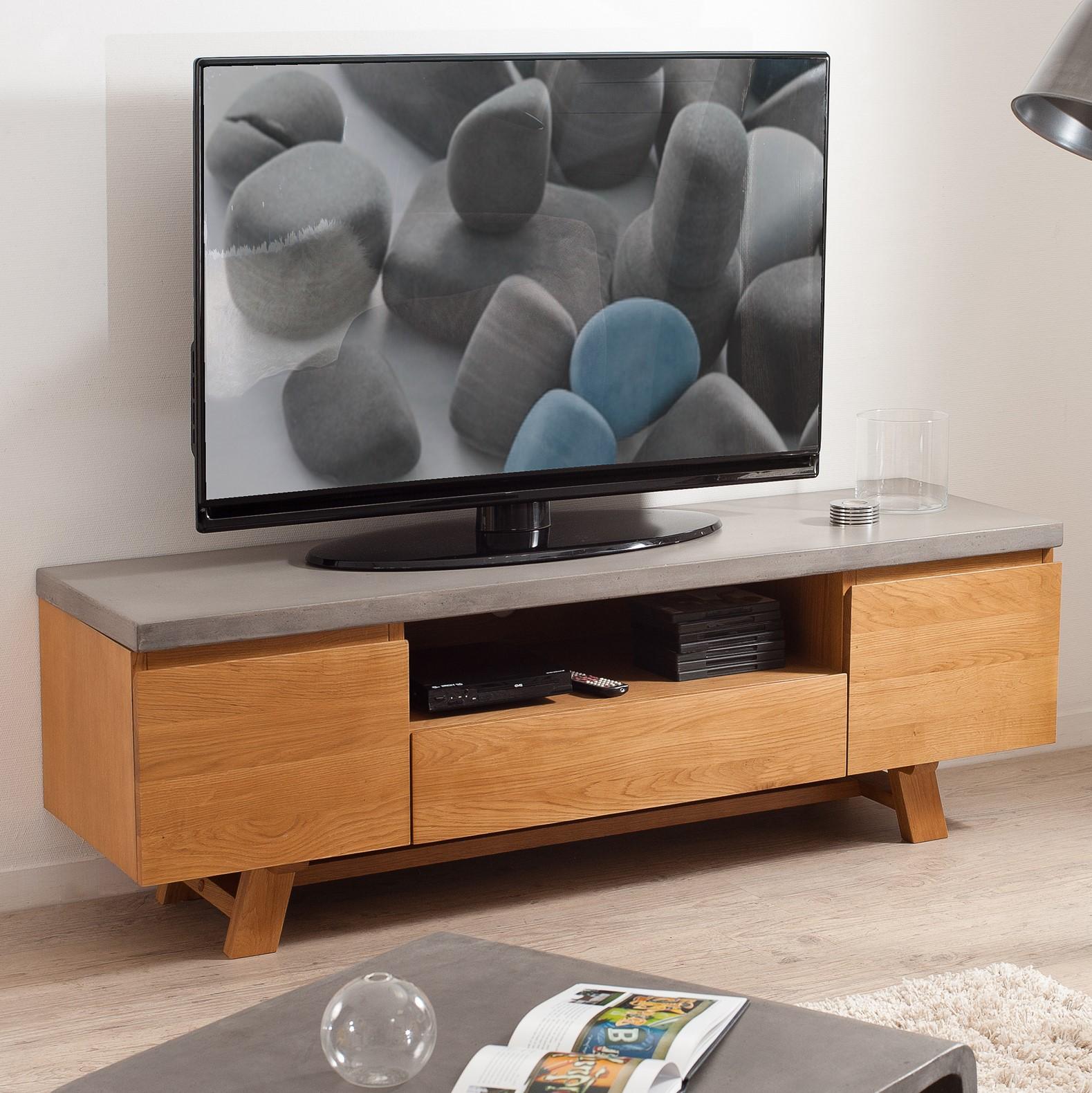 meuble tv chene et beton 2 portes 1 tiroir 150x45 ferrer meubles tv pier import