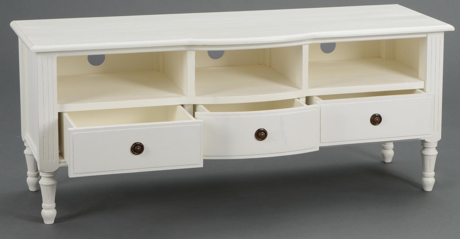 meuble tv classique chic 3 tiroirs 3 niches agathe 120x40x50cm blanc antique amadeus