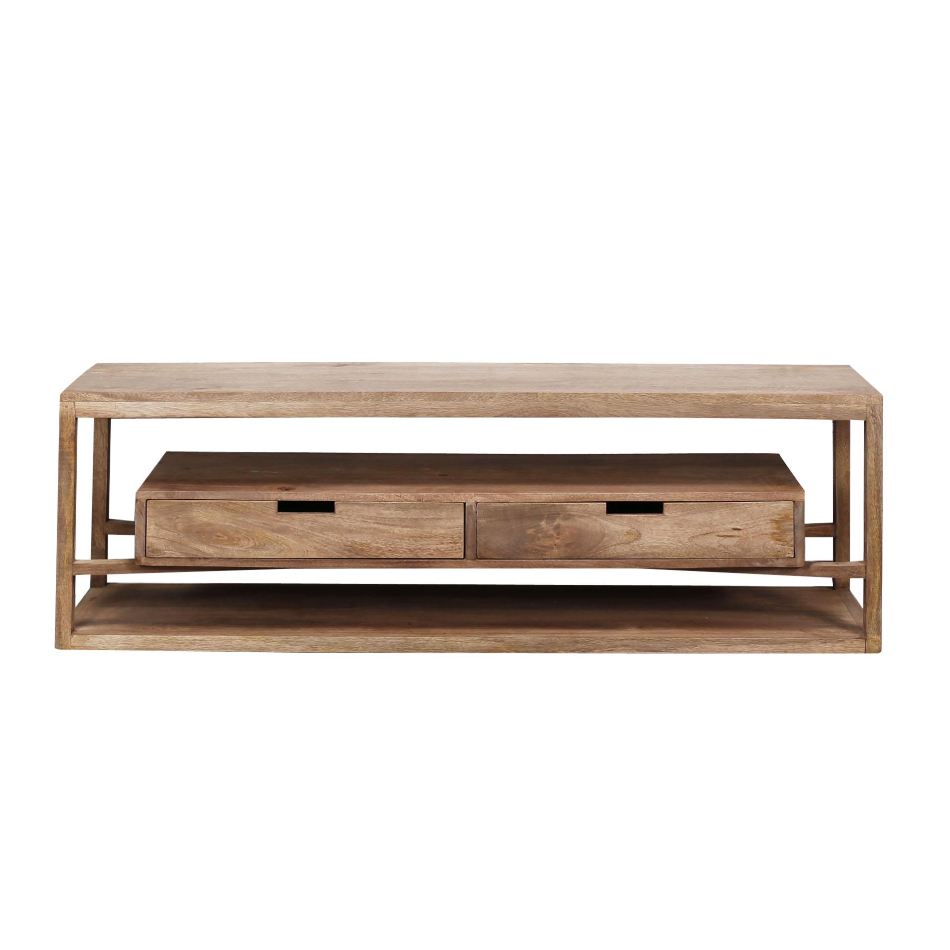 meuble tv contemporain bois de manguier 2 tiroirs suspendus delhi