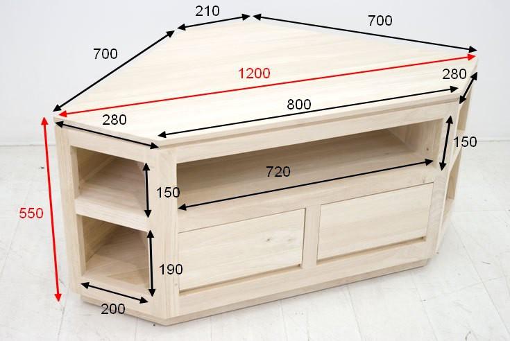 meuble tv d angle hevea 120cm olga
