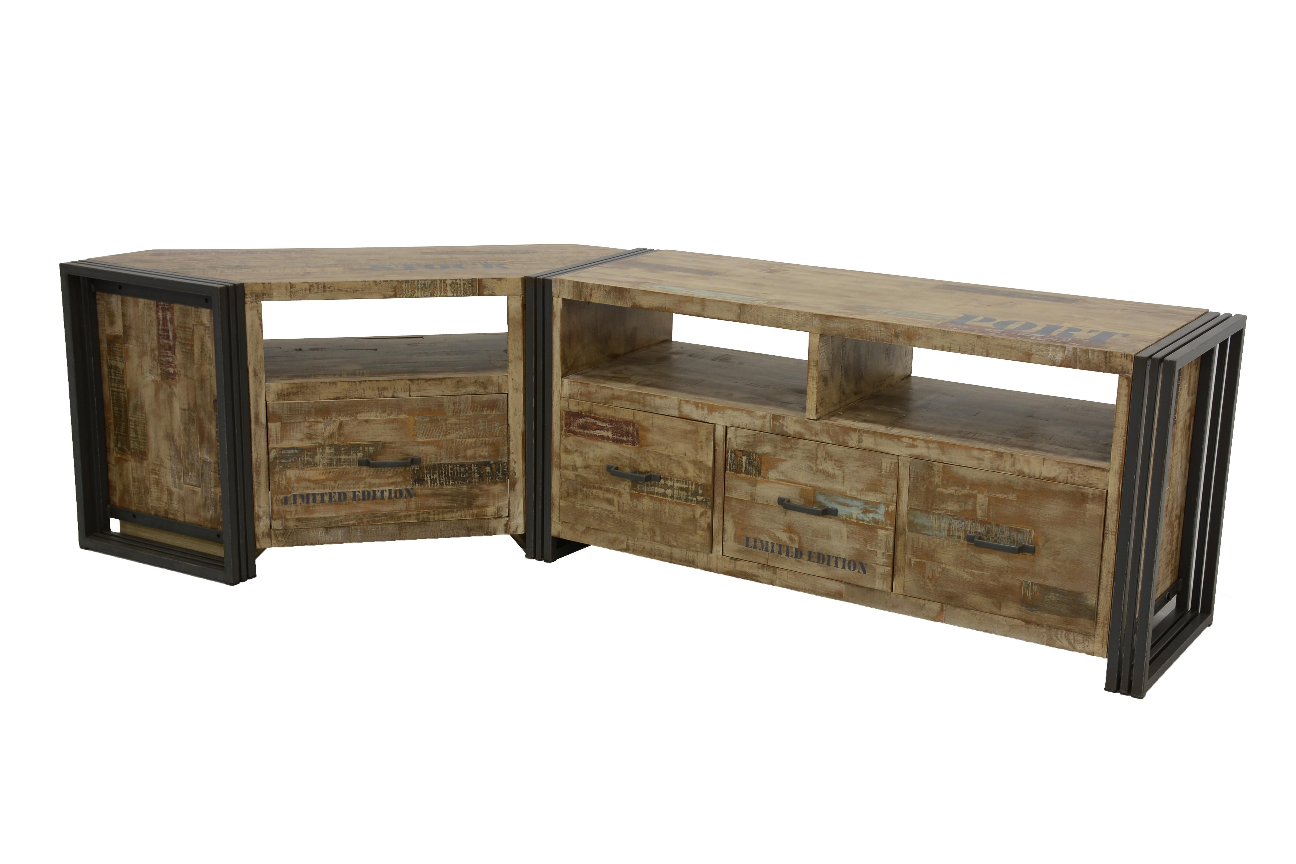 meuble tv d angle hevea recycle blanchi et metal noirci 1 tiroir 1 niche 115x40x55cm docker