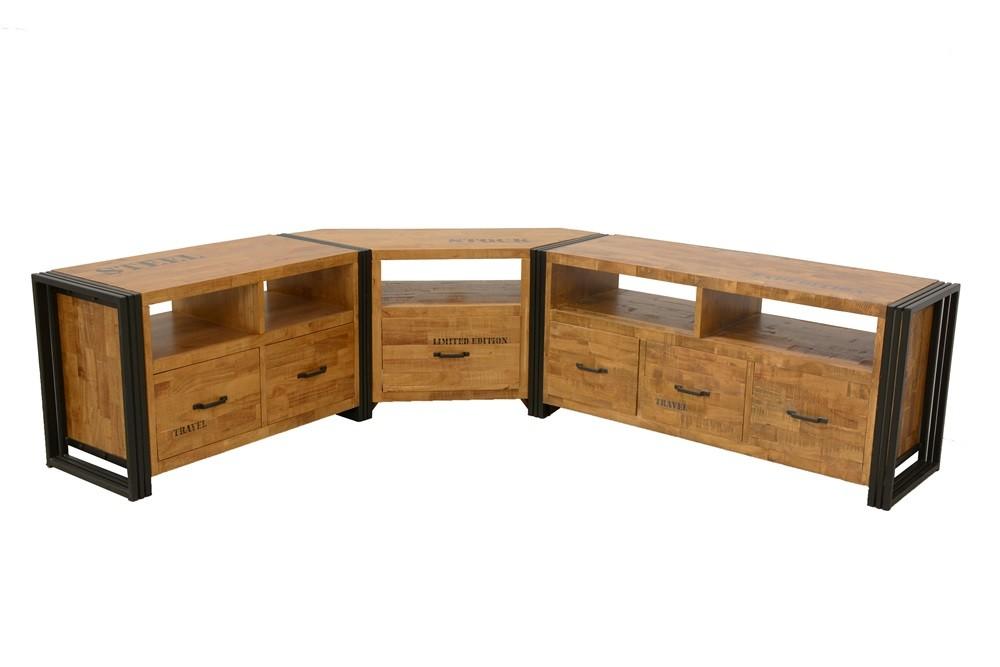 meuble tv d angle hevea recycle naturel et metal noirci 1 tiroir 1 niche 115x40x55cm docker