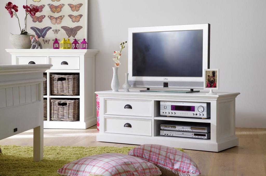 meuble tv en bois blanc 2 tiroirs acajou 120x45cm royan