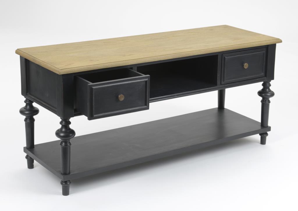 meuble tv en bois noir 2 tiroirs classique new legende l120xp40xh55 amadeus
