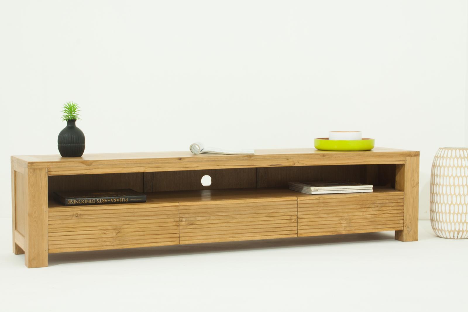 meuble tv en teck massif naturel avec 3 tiroirs et 1 grande niche 170x40x40cm gariss meubles tv pier import
