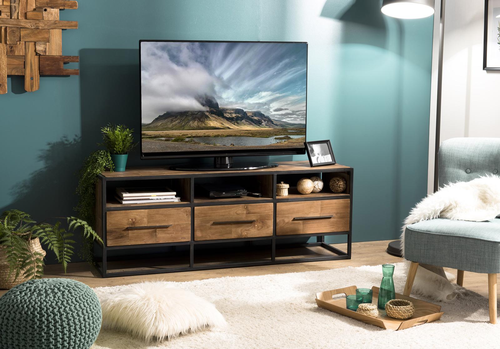meuble tv industriel bois recycle 3 tiroirs swing