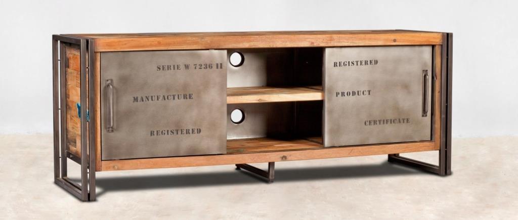 meuble tv industriel portes coulissantes metal 160 caravelle