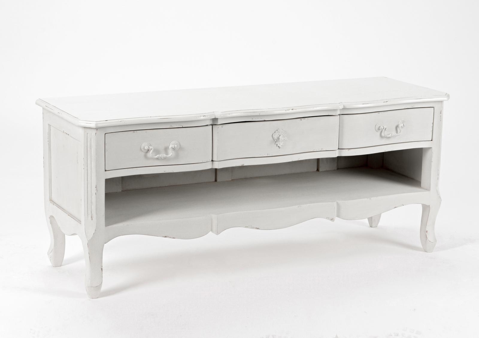 meuble tv romantique 3 tiroirs 1 niche harpe l 120 x p 40 x h 50 creme antique vieilli amadeus