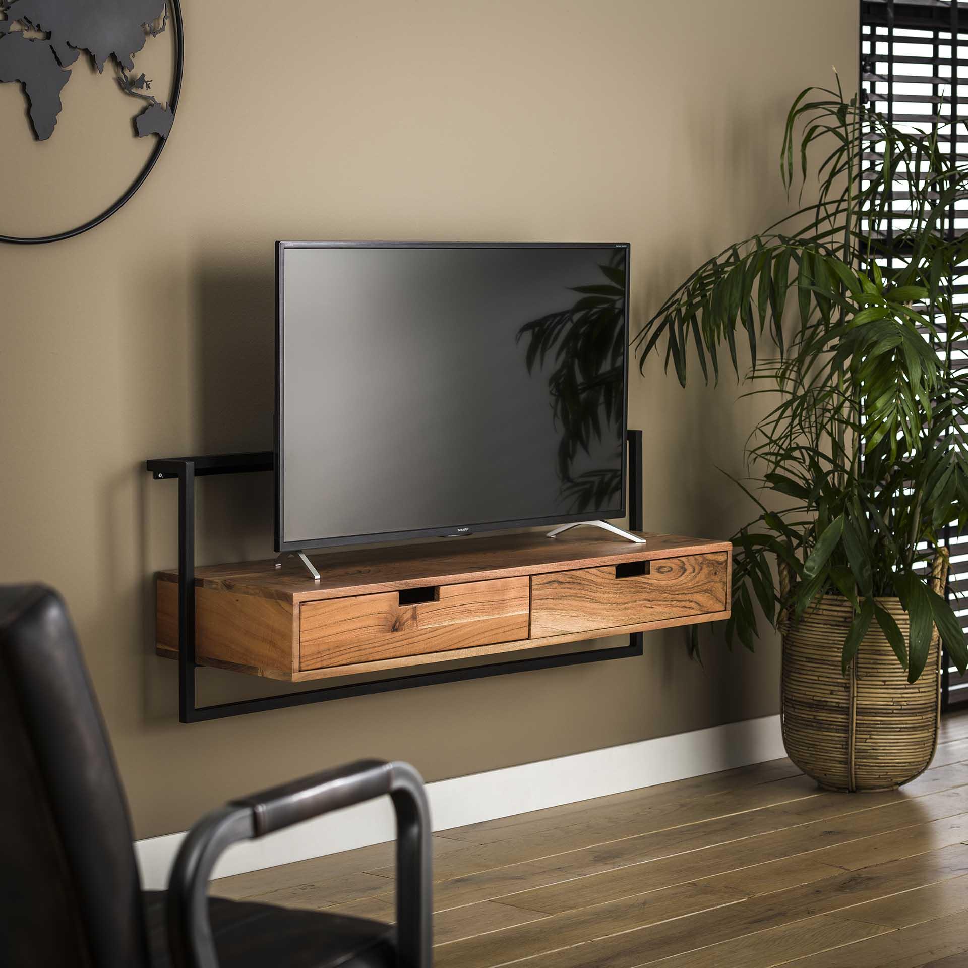 meuble tv suspendu en bois et metal melbourne meubles tv pier import
