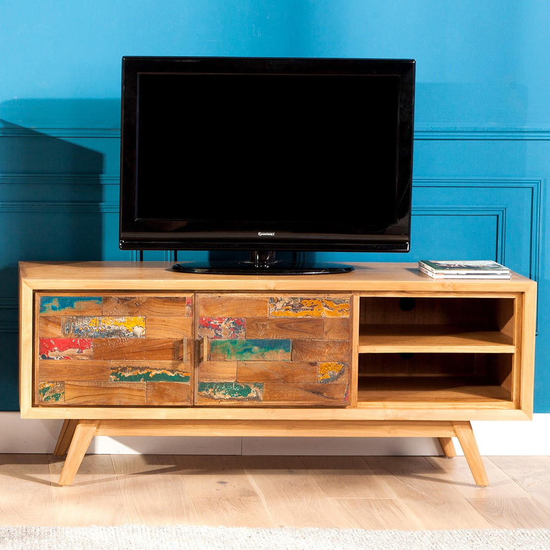 meuble tv teck recycle colore 2 portes lombok
