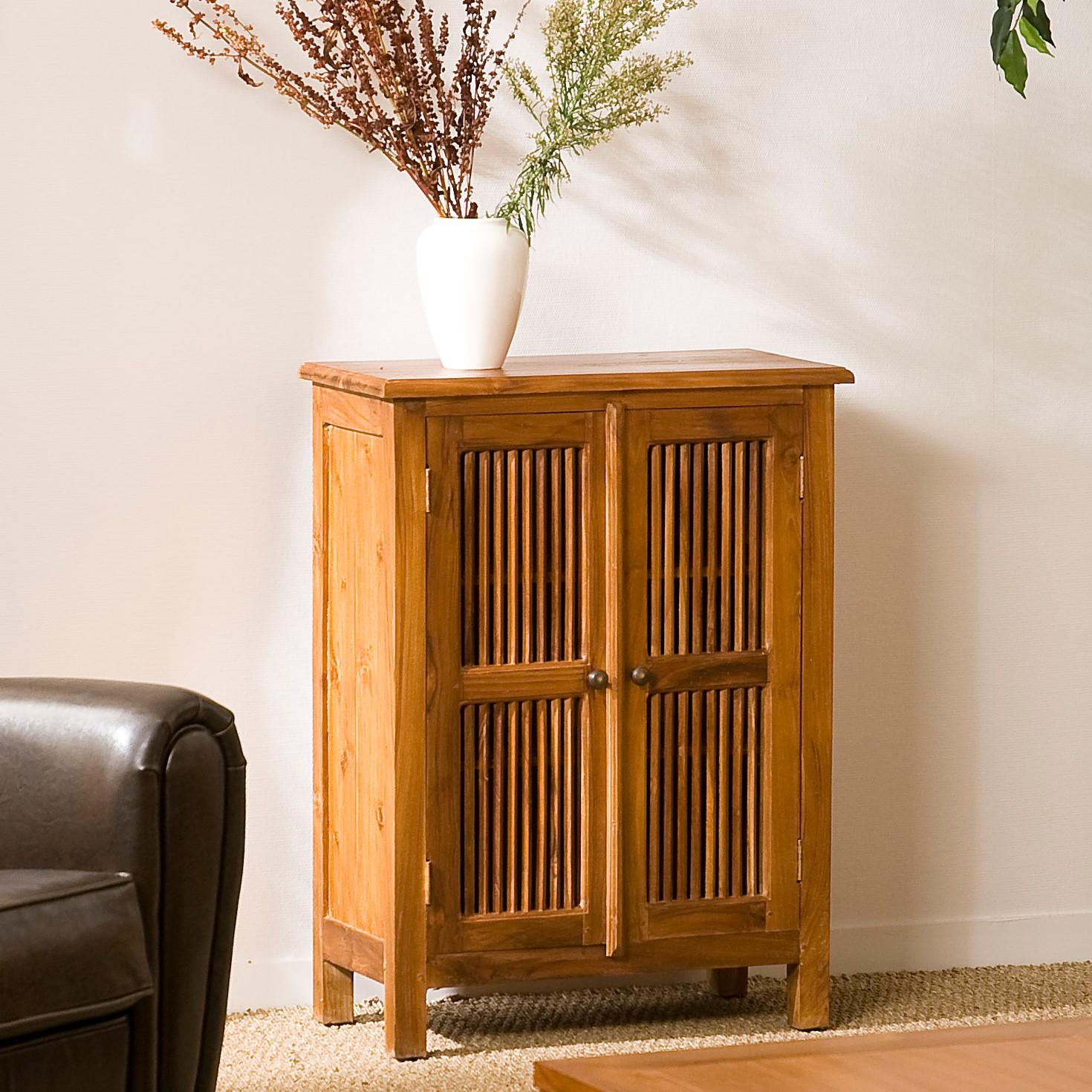 petit meuble d entree bois de teck bisho