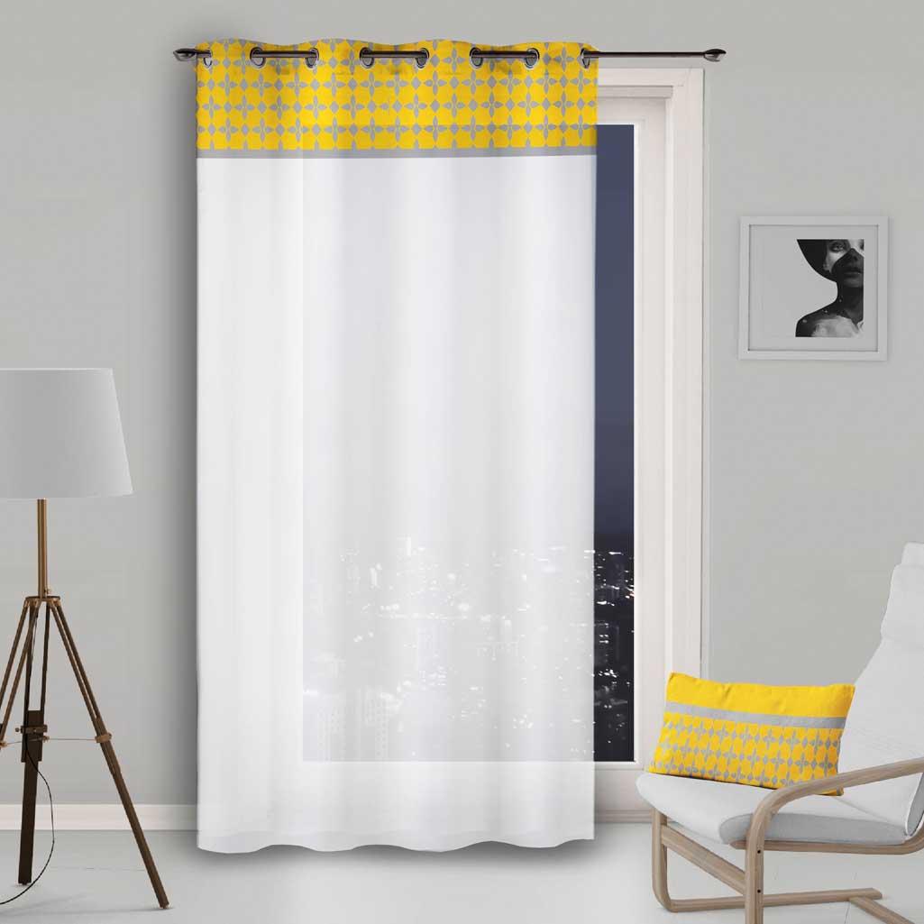 rideau voilage blanc avec bande damier jaune 135x250cm