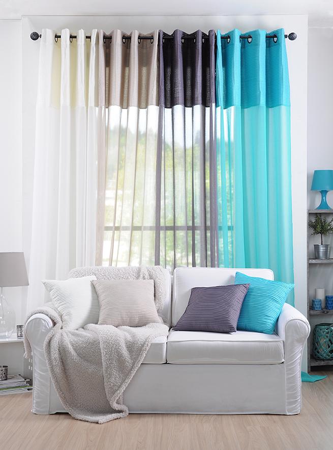 rideau voilage couleur lin rayures en relief 140x260cm a oeillets sochic