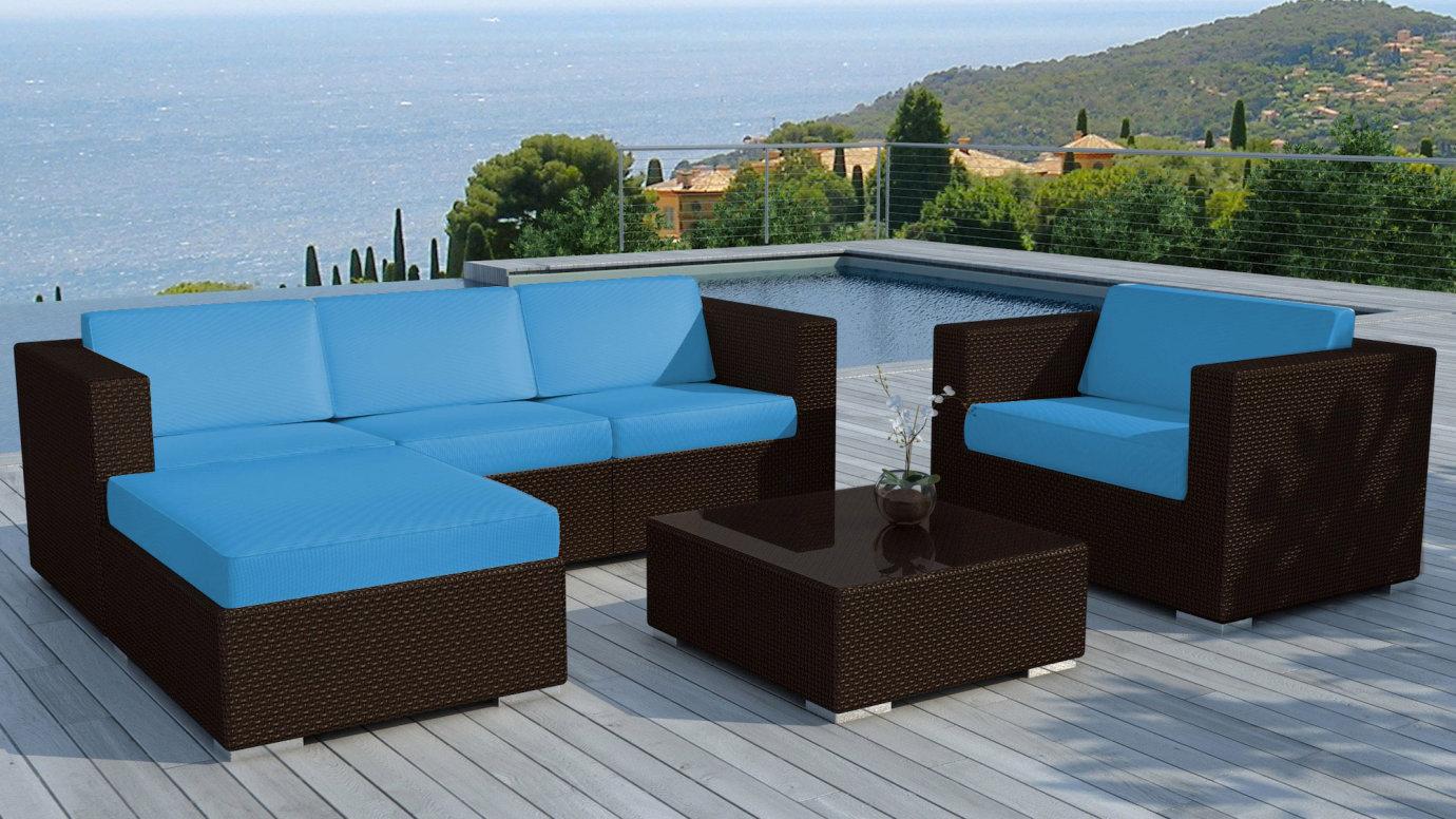 salon de jardin copacabana 6 pieces en resine couleur chocolat et coussins tissu blanc ecru un jeu de housse tissu bleu