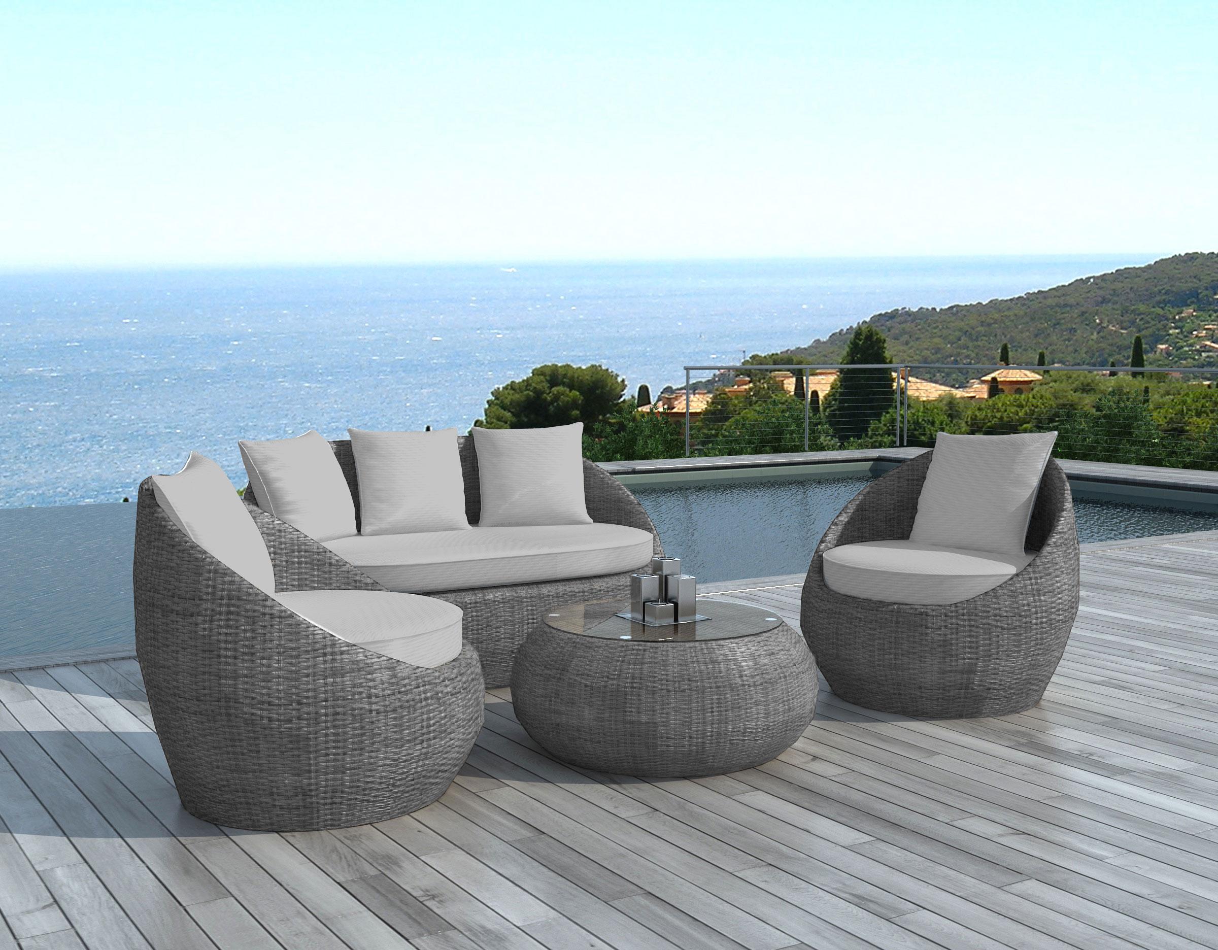 salon de jardin 4 places en resine tressee grise coussins malaga