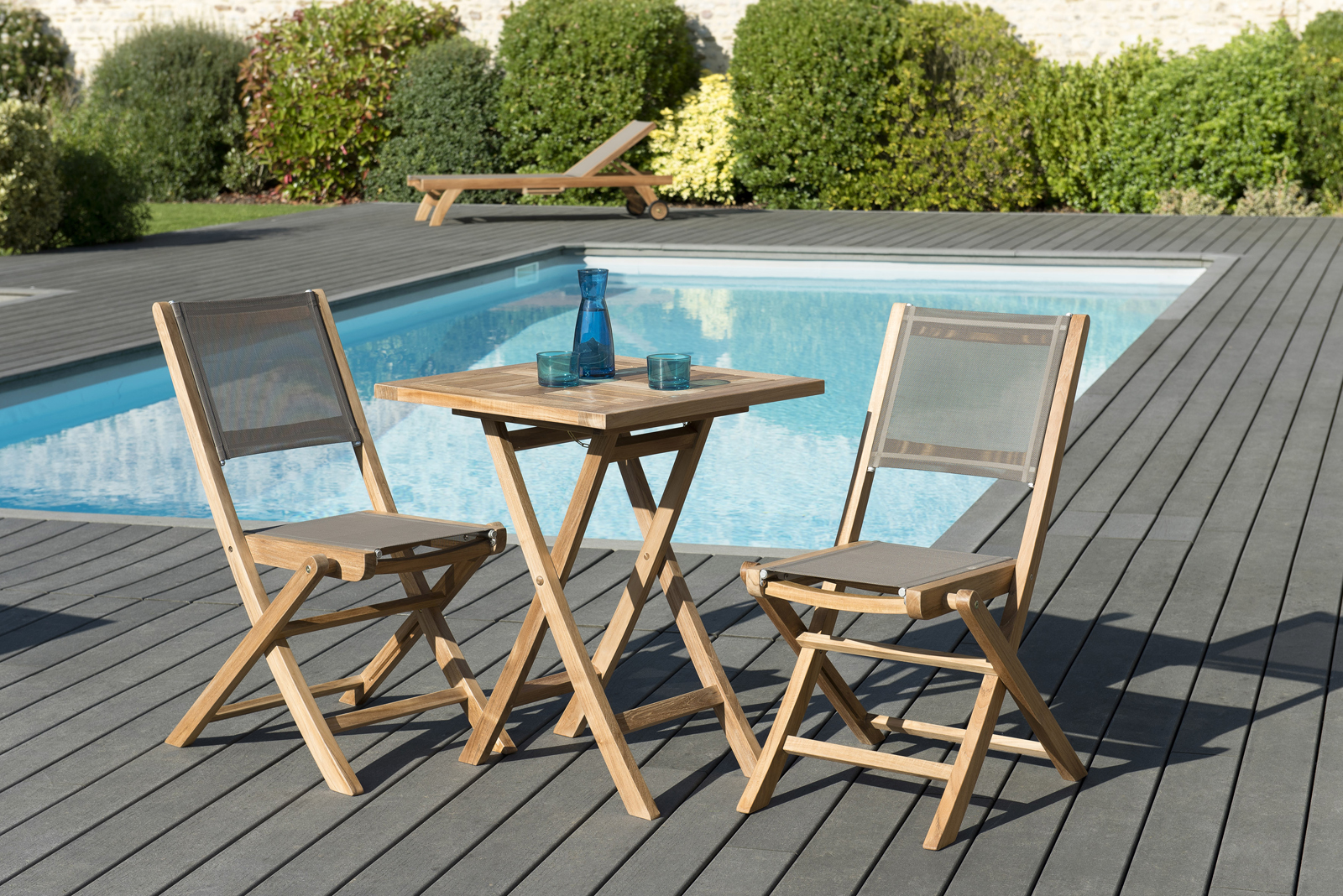 salon de jardin teck table carree 60x60 2 chaises pliantes summer ref 30020849